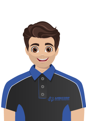 Dark haired male Ambicorp animation in black and blue uniform